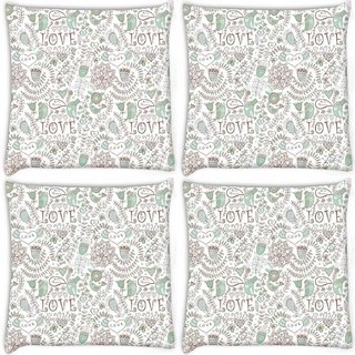Snoogg Pack Of 4 Love Birds Offwhite Pattern Digitally Printed Cushion Cover Pillow 10 x 10 Inch