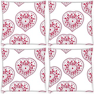Snoogg Pack Of 4 Red Heart White Pattern Digitally Printed Cushion Cover Pillow 10 x 10 Inch