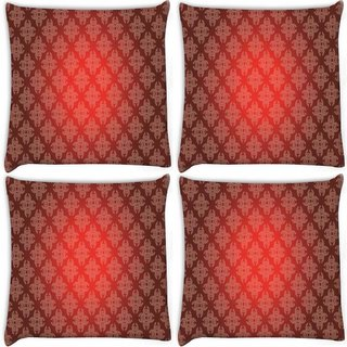 Snoogg Pack Of 4 Abstract Red Pattern Design Digitally Printed Cushion Cover Pillow 10 x 10 Inch