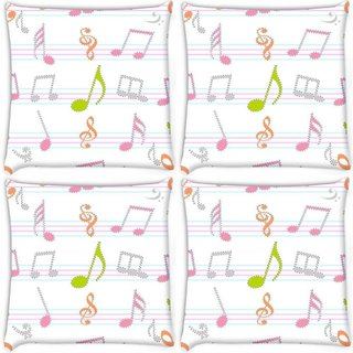 Snoogg Pack Of 4 Music Alphabets Digitally Printed Cushion Cover Pillow 10 x 10 Inch