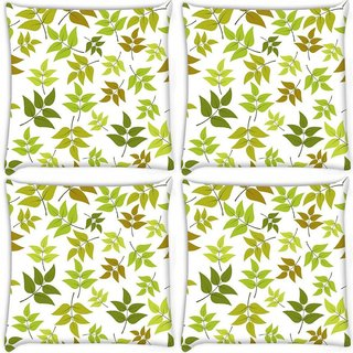 Snoogg Pack Of 4 Abstract Leaves White Pattern Digitally Printed Cushion Cover Pillow 10 x 10 Inch