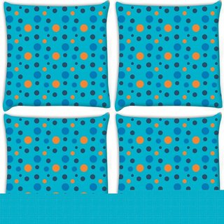 Snoogg Pack Of 4 Colorful Spots Blue Pattern Digitally Printed Cushion Cover Pillow 10 x 10 Inch