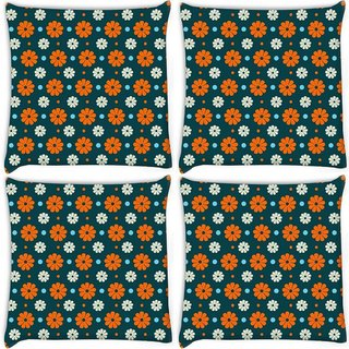 Snoogg Pack Of 4 Multicolor Floral Pattern Digitally Printed Cushion Cover Pillow 10 x 10 Inch