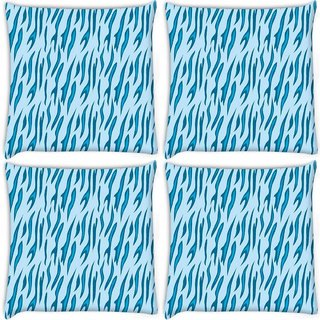 Snoogg Pack Of 4 Abstract Blue Chetah Design Digitally Printed Cushion Cover Pillow 10 x 10 Inch