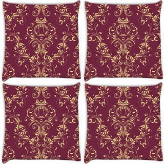Snoogg Pack Of 4 Cream Pattern Brown Digitally Printed Cushion Cover Pillow 10 x 10 Inch
