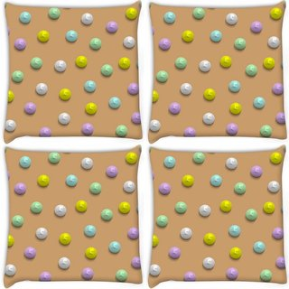 Snoogg Pack Of 4 Colorful Pebbles Digitally Printed Cushion Cover Pillow 10 x 10 Inch