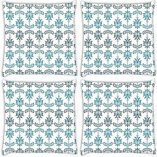 Snoogg Pack Of 4 Opposite Pattern Blue Digitally Printed Cushion Cover Pillow 10 x 10 Inch