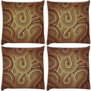 Snoogg Pack Of 4 Brown Pattern Layer Digitally Printed Cushion Cover Pillow 10 x 10 Inch