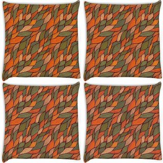 Snoogg Pack Of 4 Colorful Leaves Pattern Digitally Printed Cushion Cover Pillow 10 x 10 Inch