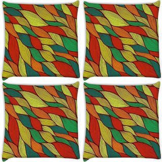 Snoogg Pack Of 4 Dark Color Leaves Digitally Printed Cushion Cover Pillow 10 x 10 Inch