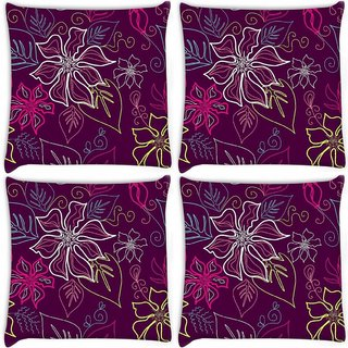 Snoogg Pack Of 4 Floral Sketch Pink Digitally Printed Cushion Cover Pillow 10 x 10 Inch