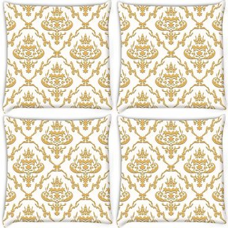 Snoogg Pack Of 4 Golden Pattern Digitally Printed Cushion Cover Pillow 10 x 10 Inch