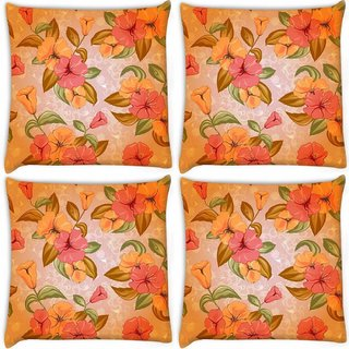 Snoogg Pack Of 4 Mixed Floral Pattern Digitally Printed Cushion Cover Pillow 10 x 10 Inch