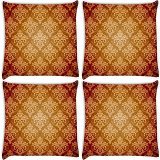 Snoogg Pack Of 4 Yellow Brown Pattern Digitally Printed Cushion Cover Pillow 10 x 10 Inch