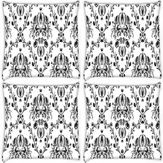 Snoogg Pack Of 4 Grey Branched Pattern Digitally Printed Cushion Cover Pillow 10 x 10 Inch