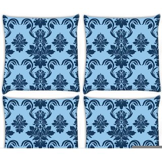 Snoogg Pack Of 4 Blue Abstract Pattern Digitally Printed Cushion Cover Pillow 10 x 10 Inch
