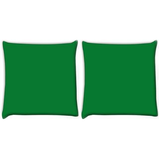 Snoogg Pack Of 2 Plain Green Digitally Printed Cushion Cover Pillow 10 x 10 Inch