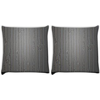 Snoogg Pack Of 2 Black Wood Digitally Printed Cushion Cover Pillow 10 x 10 Inch