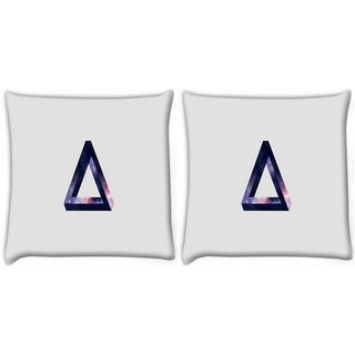 Snoogg Pack Of 2 Trianlge Digitally Printed Cushion Cover Pillow 10 x 10 Inch