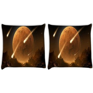 Snoogg Pack Of 2 Solar Ecplise Digitally Printed Cushion Cover Pillow 10 x 10 Inch