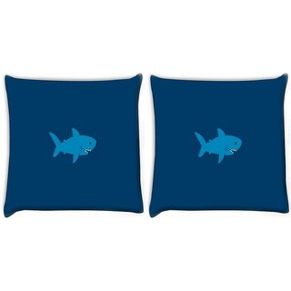 Snoogg Pack Of 2 Blue Shark Digitally Printed Cushion Cover Pillow 10 x 10 Inch