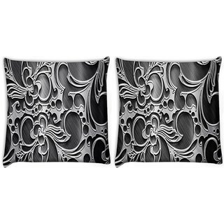 Snoogg Pack Of 2 Abstract Grey Design Digitally Printed Cushion Cover Pillow 10 x 10 Inch