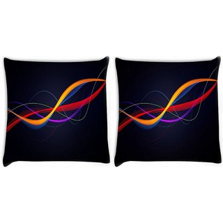 Snoogg Pack Of 2 Colorful Pattern Design Digitally Printed Cushion Cover Pillow 10 x 10 Inch