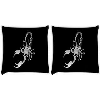 Snoogg Pack Of 2 Scorpio Digitally Printed Cushion Cover Pillow 10 x 10 Inch