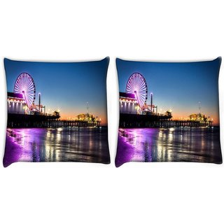 Snoogg Pack Of 2 Giant Wheel Digitally Printed Cushion Cover Pillow 10 x 10 Inch