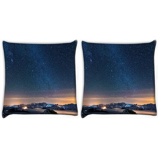 Snoogg Pack Of 2 Awesome Stars Digitally Printed Cushion Cover Pillow 10 x 10 Inch