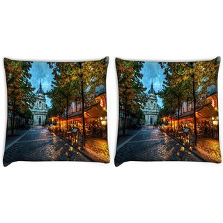 Snoogg Pack Of 2 Streets At Nite Digitally Printed Cushion Cover Pillow 10 x 10 Inch