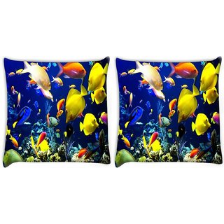 Snoogg Pack Of 2 Multicolor Fishes Digitally Printed Cushion Cover Pillow 10 x 10 Inch