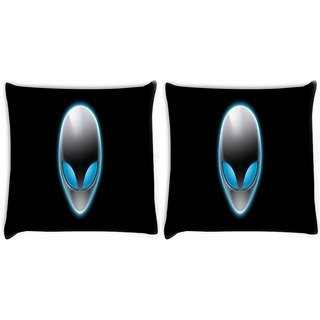 Snoogg Pack Of 2 Alien Mask Digitally Printed Cushion Cover Pillow 10 x 10 Inch