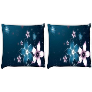 Snoogg Pack Of 2 Abstract Floral Pattern Digitally Printed Cushion Cover Pillow 10 x 10 Inch