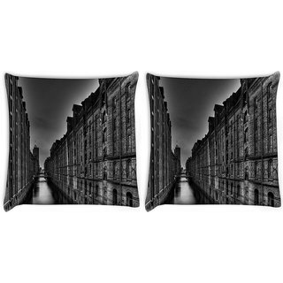 Snoogg Pack Of 2 Dark City Digitally Printed Cushion Cover Pillow 10 x 10 Inch