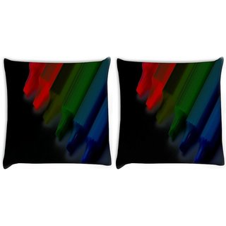 Snoogg Pack Of 2 Colorful Crayons Digitally Printed Cushion Cover Pillow 10 x 10 Inch