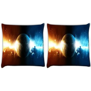 Snoogg Pack Of 2 Powers Of Earth Digitally Printed Cushion Cover Pillow 10 x 10 Inch