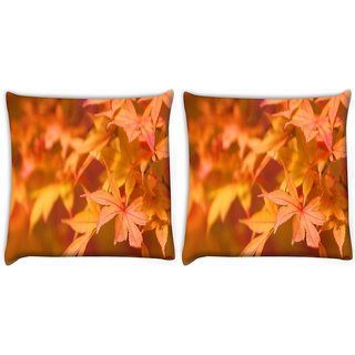 Snoogg Pack Of 2 Orange Leaves Digitally Printed Cushion Cover Pillow 10 x 10 Inch