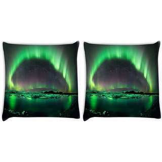 Snoogg Pack Of 2 Green Layered Island Digitally Printed Cushion Cover Pillow 10 x 10 Inch