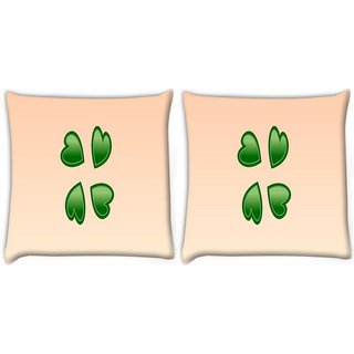 Snoogg Pack Of 2 Green Hearts Digitally Printed Cushion Cover Pillow 10 x 10 Inch