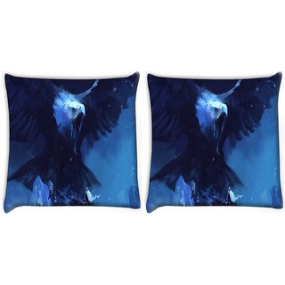 Snoogg Pack Of 2 Roaring Eagle Digitally Printed Cushion Cover Pillow 10 x 10 Inch