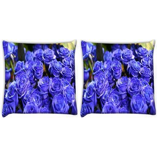 Snoogg Pack Of 2 Purple Roses Digitally Printed Cushion Cover Pillow 10 x 10 Inch
