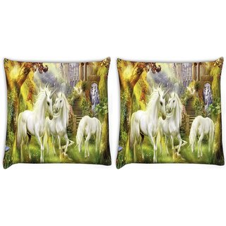 Snoogg Pack Of 2 Horses Art Large Digitally Printed Cushion Cover Pillow 10 x 10 Inch