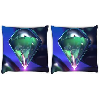 Snoogg Pack Of 2 Diamond 3D Digitally Printed Cushion Cover Pillow 10 x 10 Inch