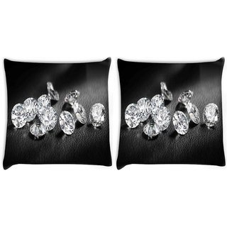 Snoogg Pack Of 2 Diamonds 11739 Digitally Printed Cushion Cover Pillow 10 x 10 Inch