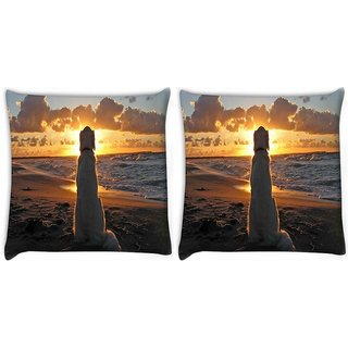 Snoogg Pack Of 2 Dog Watching Sunset Digitally Printed Cushion Cover Pillow 10 x 10 Inch