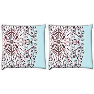 Snoogg Pack Of 2 Abstract Snowflake Digitally Printed Cushion Cover Pillow 10 x 10 Inch