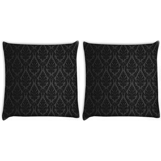 Snoogg Pack Of 2 Patterns Damask Digitally Printed Cushion Cover Pillow 10 x 10 Inch