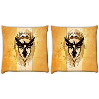 Snoogg Pack Of 2 Coat Of Arms With The Bird Digitally Printed Cushion Cover Pillow 10 x 10 Inch