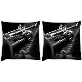 Snoogg Pack Of 2 Music Bass Digitally Printed Cushion Cover Pillow 10 x 10 Inch